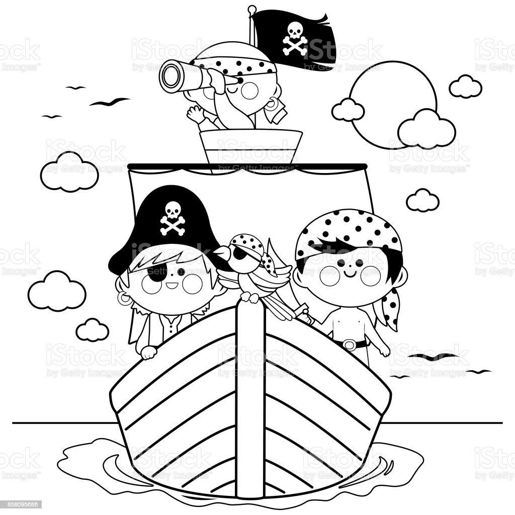 Pirates Sailing On A Ship At The Sea Black And White