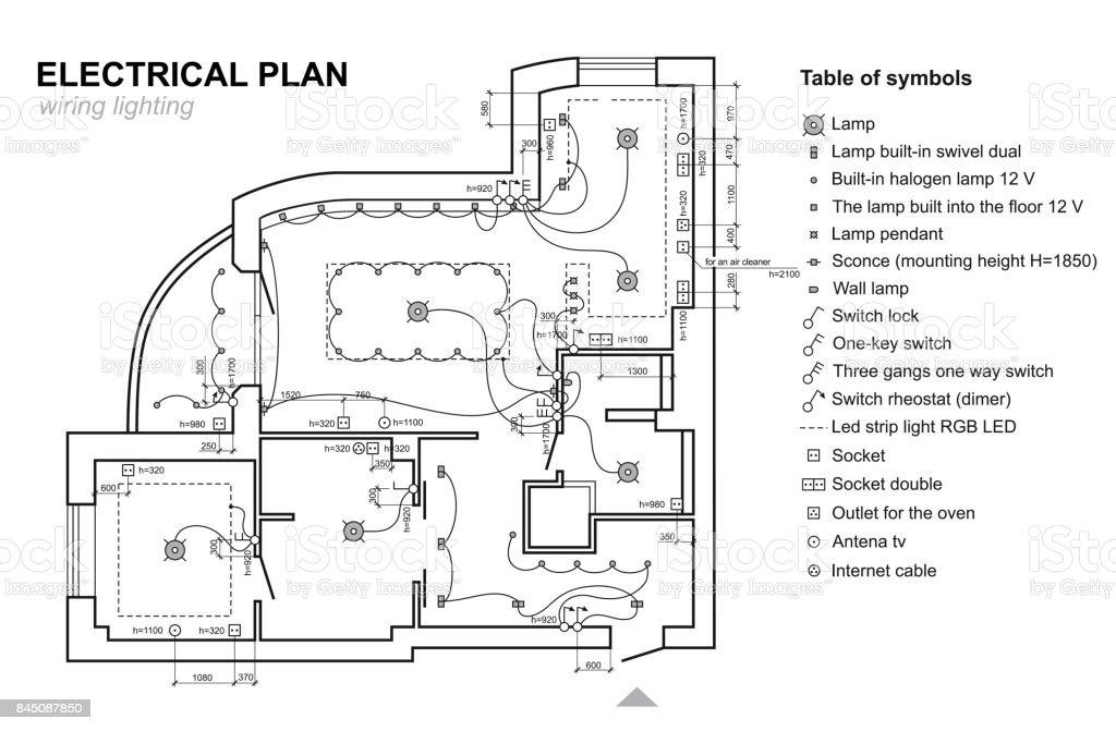 Plan Wiring Lighting Electrical Schematic Interior Set Of