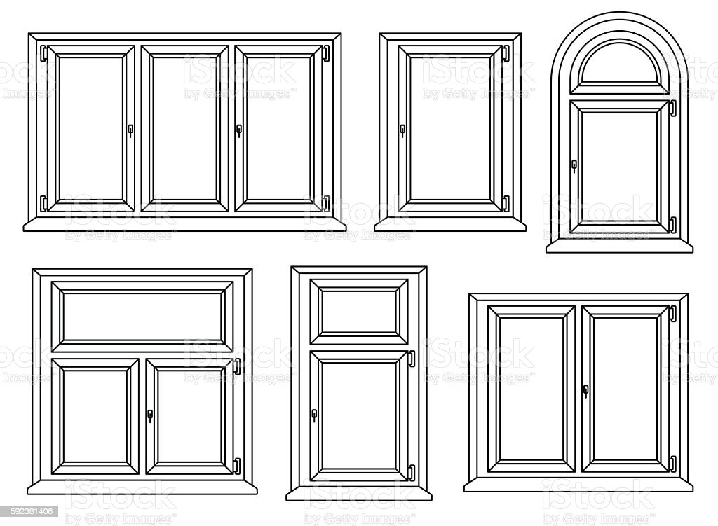 Plastic Windows Icons Set Vector Illustration Stock Vector