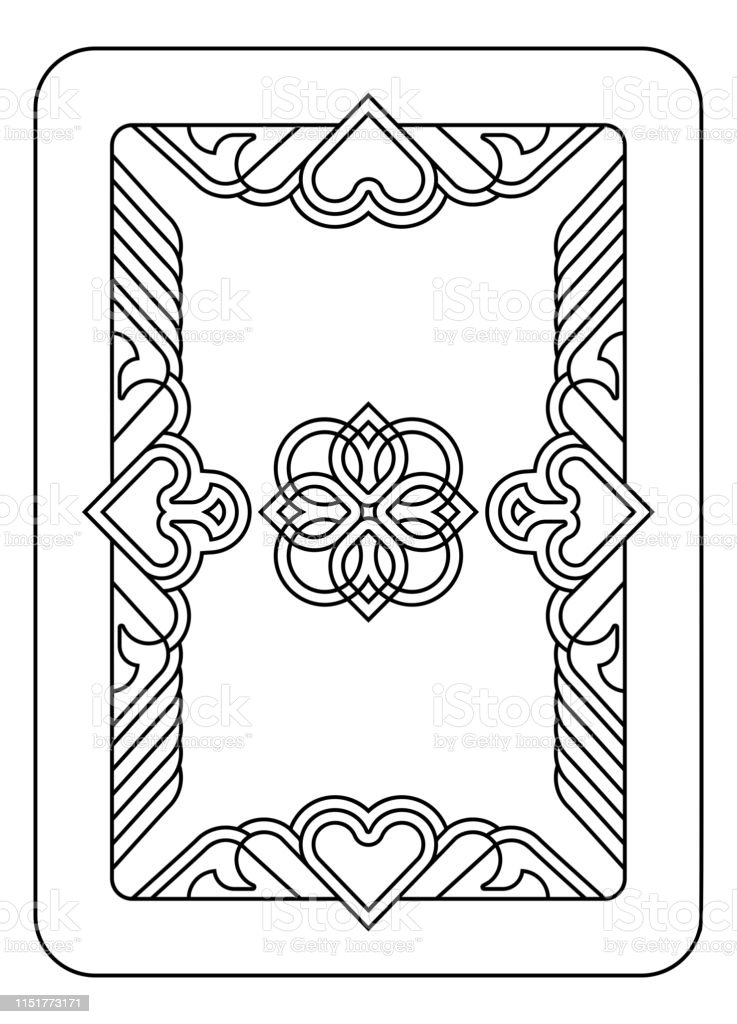 Playing Card Reverse Back In Black And White Stock