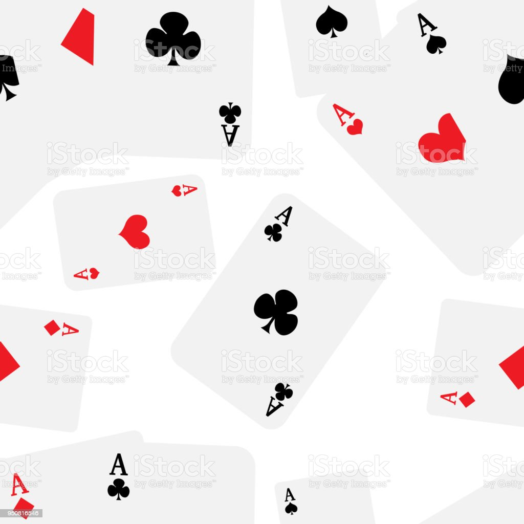 Playing Cards With Four Aces Seamless Pattern Isolated On