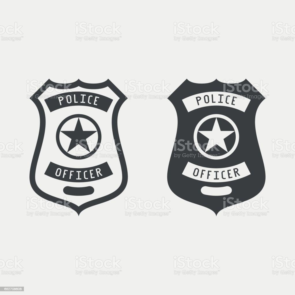 Police Badge Monochrome Icon Vector Illustration Stock