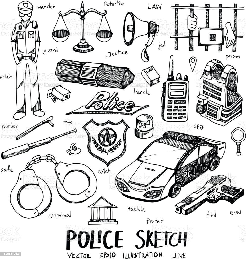 Police Doodle Sketch Line Icon Vector Set Eps10 Stock