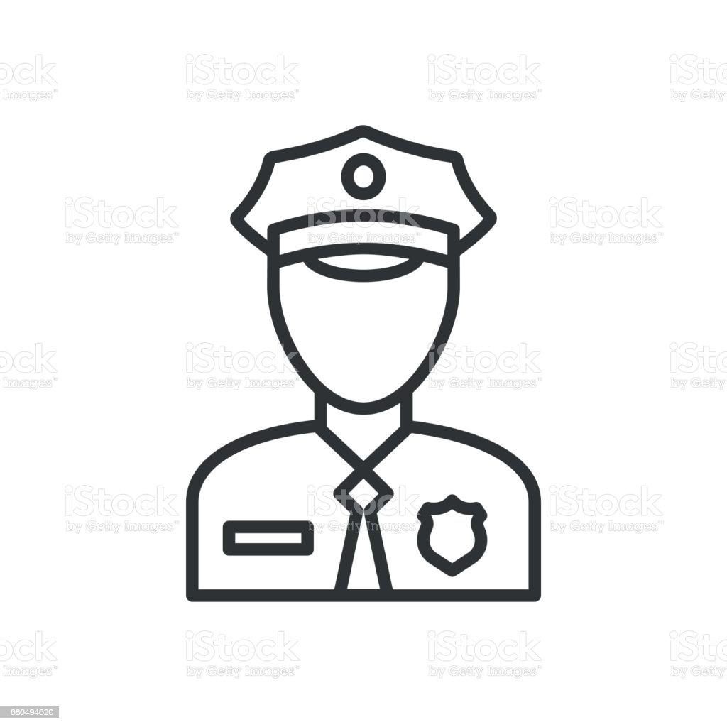 Police Icon Vector Policeman Officer Avatar Illustration