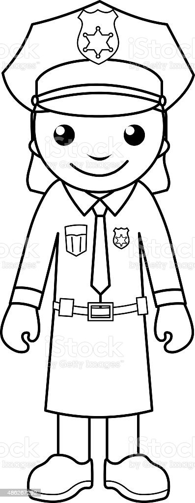 Police Officer Coloring Page For Kids Stock Vector Art
