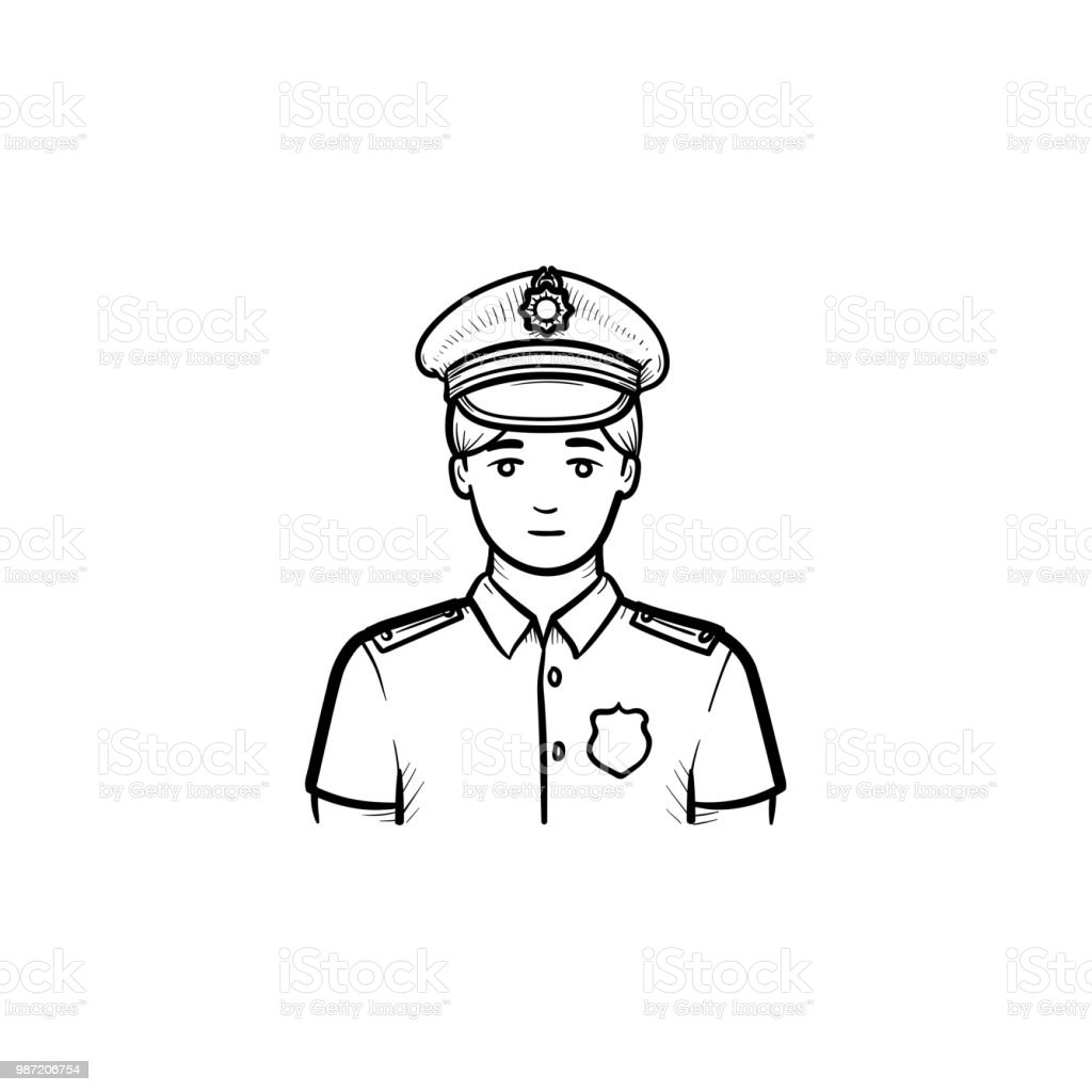 Policeman Hand Drawn Outline Doodle Icon Stock Vector Art