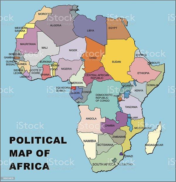 Political Map Of Africa In Vector Format stock vector art