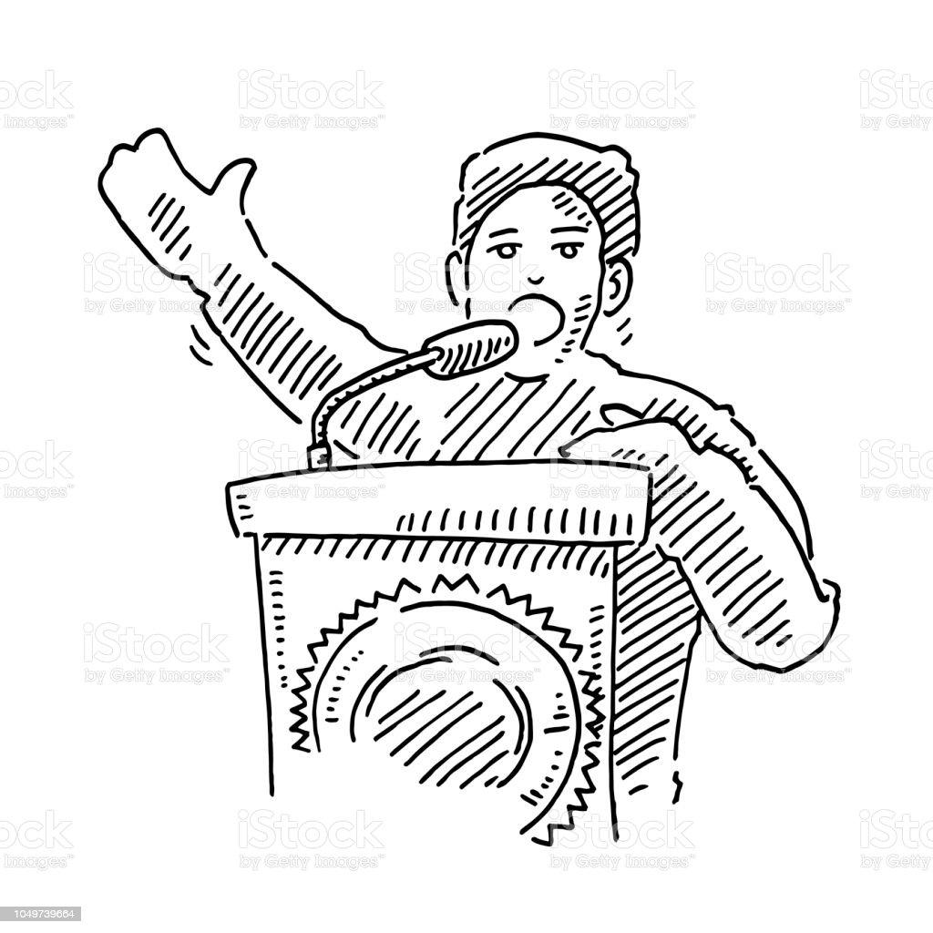 Politician Speech Podium Drawing Stock Illustration