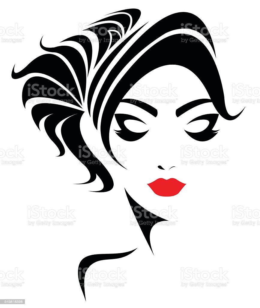 Ponytail Hair Style Icon Logo Women Face stock vector art
