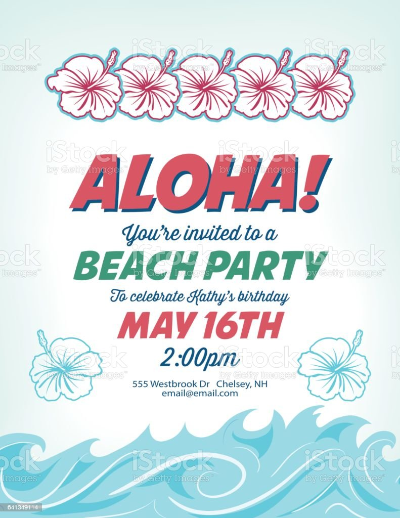 Pool Party Invitation Template With Palm Trees And Waves Royalty-Free Pool  Party Invitation Template