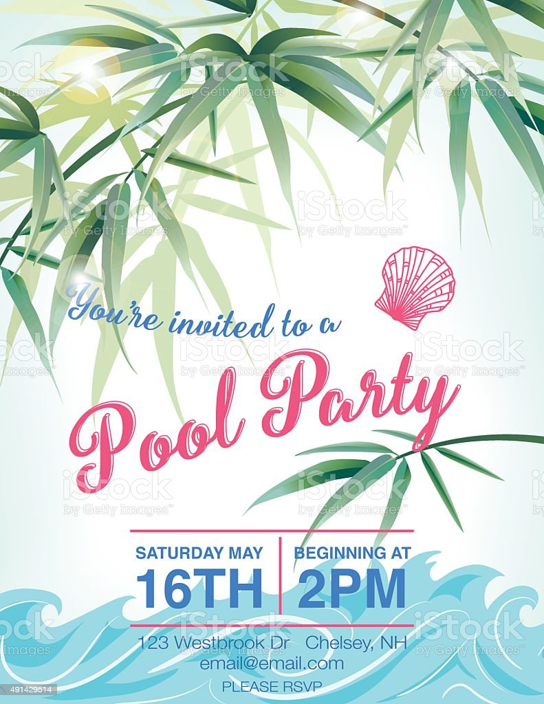 Pool Party Invitation Template With Palm Trees Royalty-Free Pool Party  Invitation Template With Palm