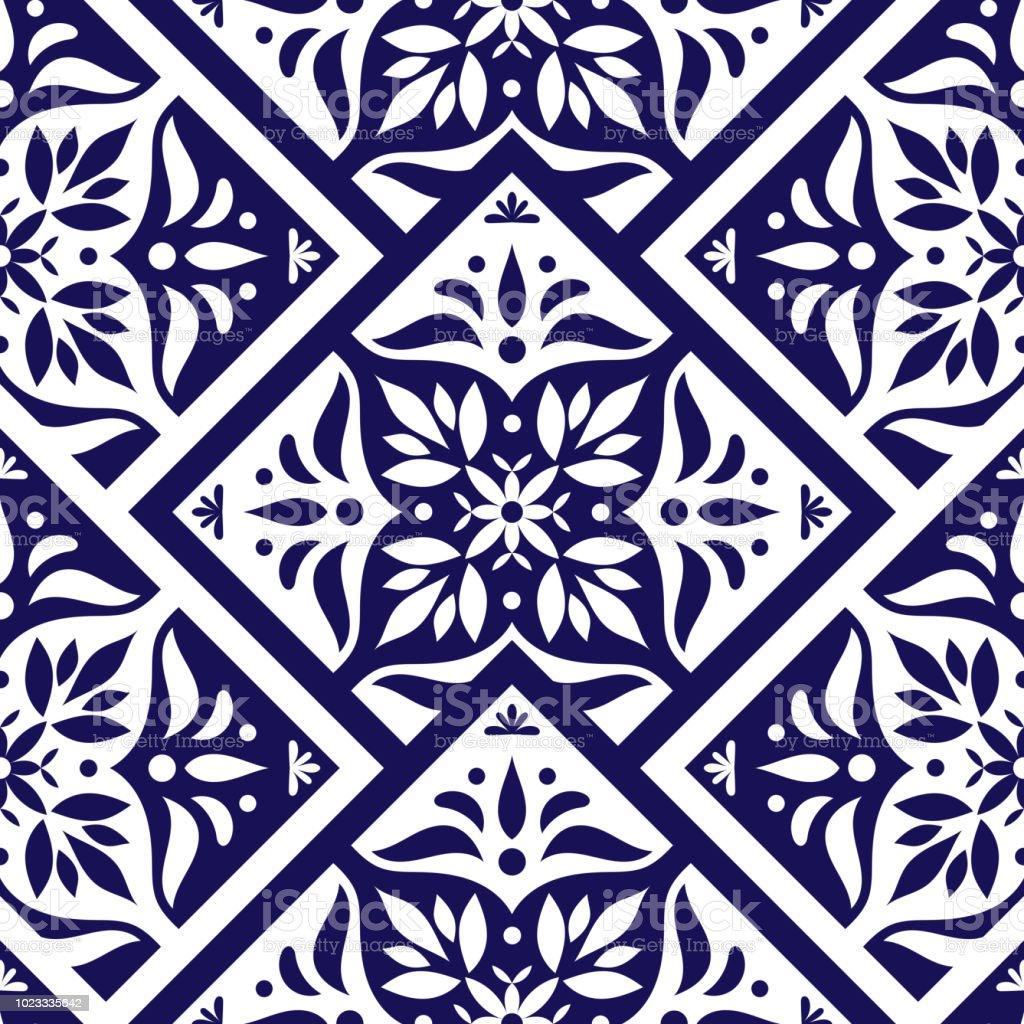 lornement de tuile portugaise vecteur avec mosaique bleue et blanche dechelle azulejos du portugal talavera mexicain majolique espagnole ou italienne texture en mosaique pour mur de cuisine ou salle de bains en