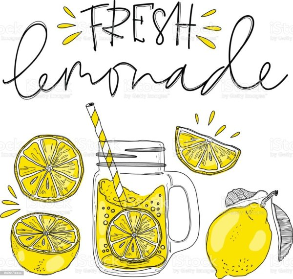 poster with lemonade elements glass