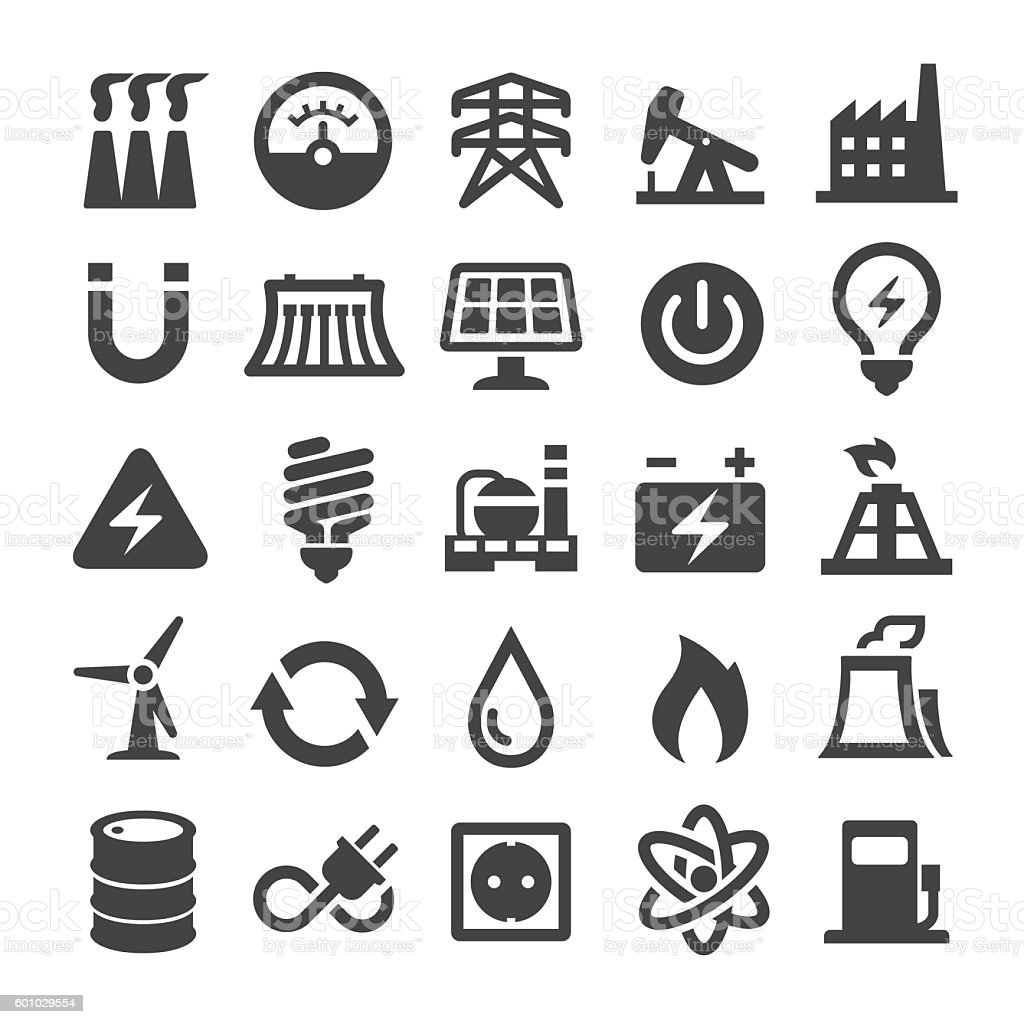 Power Generation And Fuel Icons Smart Series Stock Vector