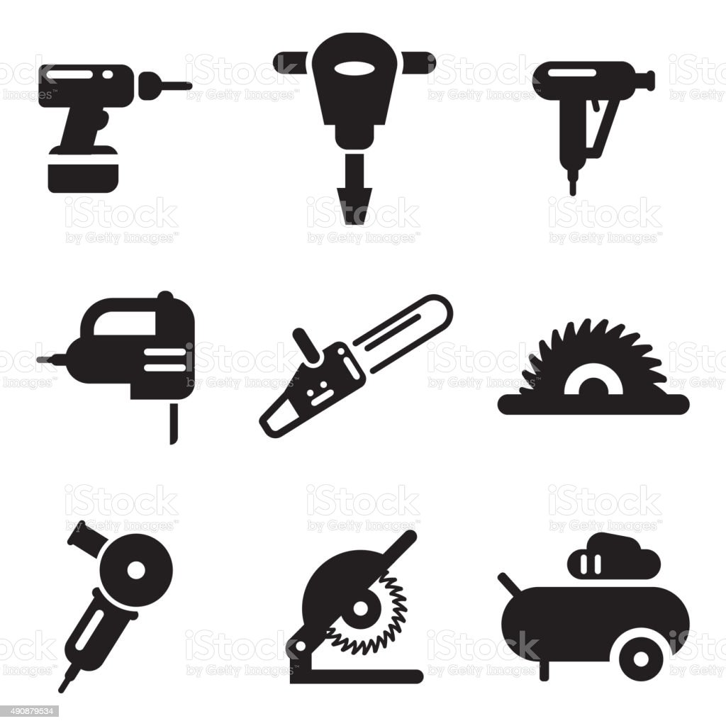 Power Tools Icons Stock Vector Art & More Images of