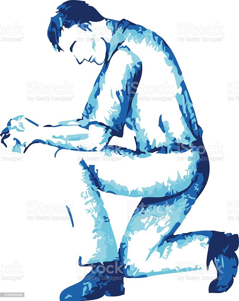 How To Draw A Person Kneeling : person, kneeling, Drawing, Kneeling, Prayer, Illustrations, IStock