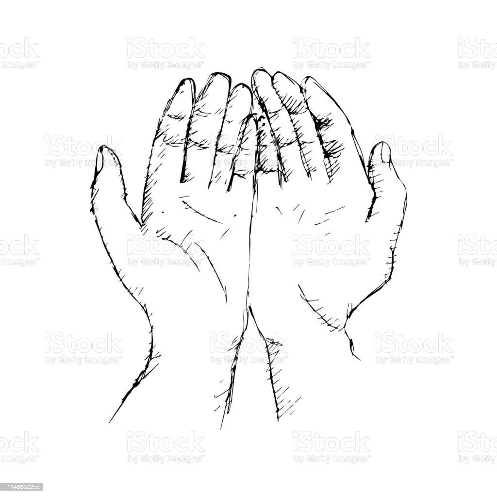 Praying Hands Hand Drawing Illustration Stock Illustration
