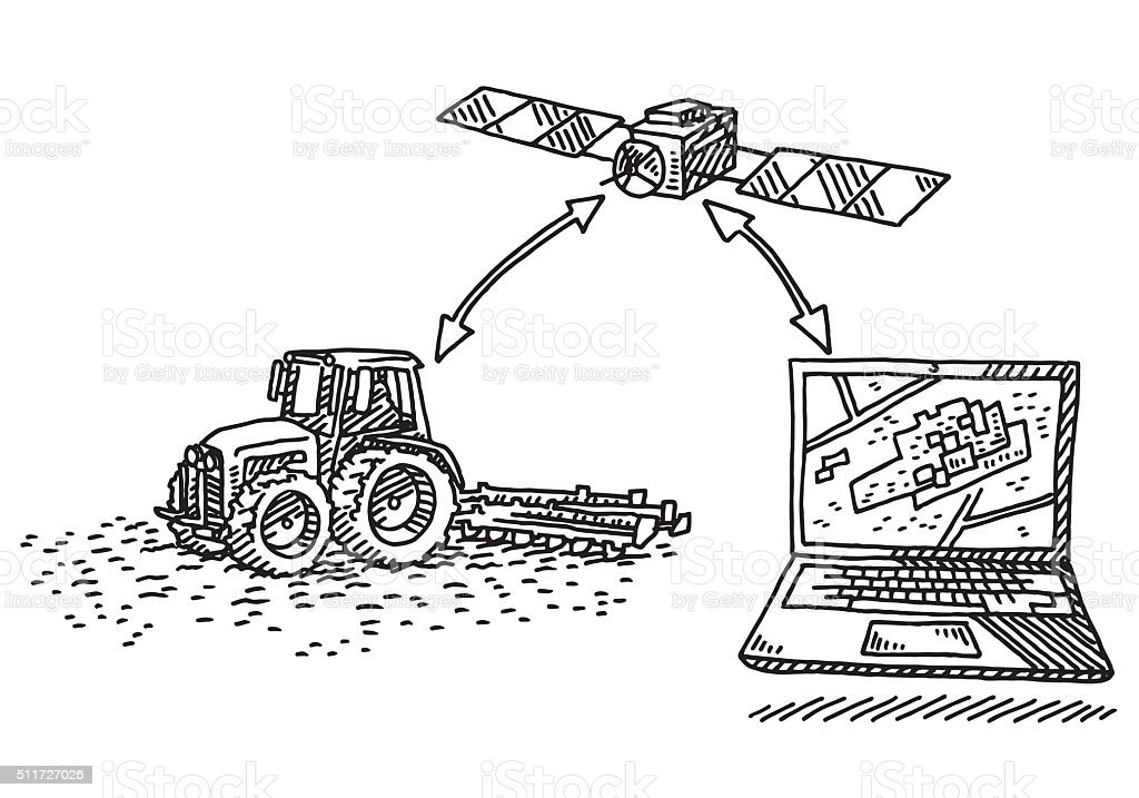 Precision Agriculture Concept Drawing Stock Vector Art