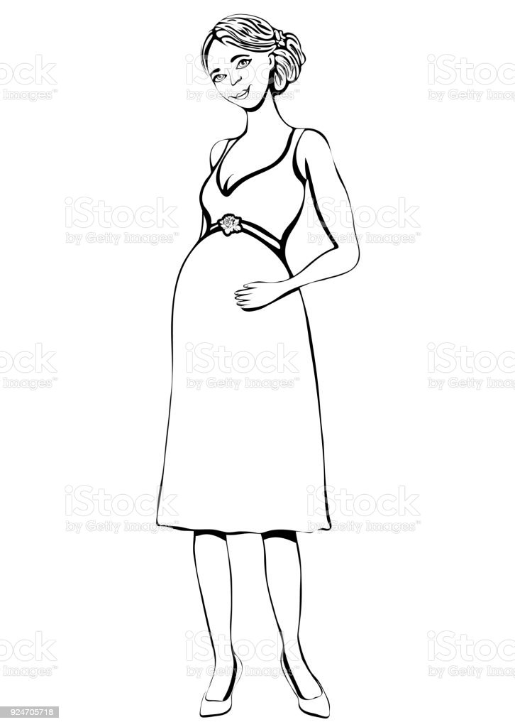 Pregnant Woman Vector Outline Hand Drawing Coloring Sketch