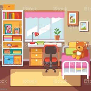 bedroom vector preschool child interior student study illustration illustrations desk window clip books bed flat bookshelf drawer frames boxes vectors