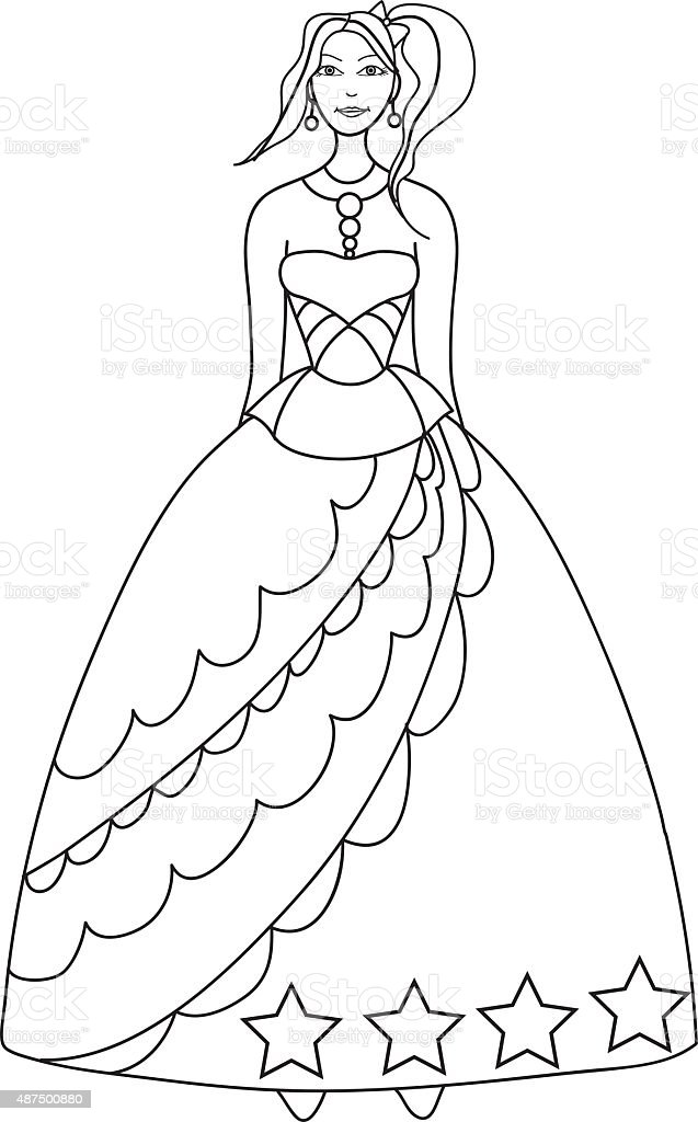 Princess Coloring Page For Kids Stock Vector Art & More