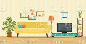 living clip vector illustration illustrations tv sofa furniture interior cliparts flat decor graphics bookcase lamps