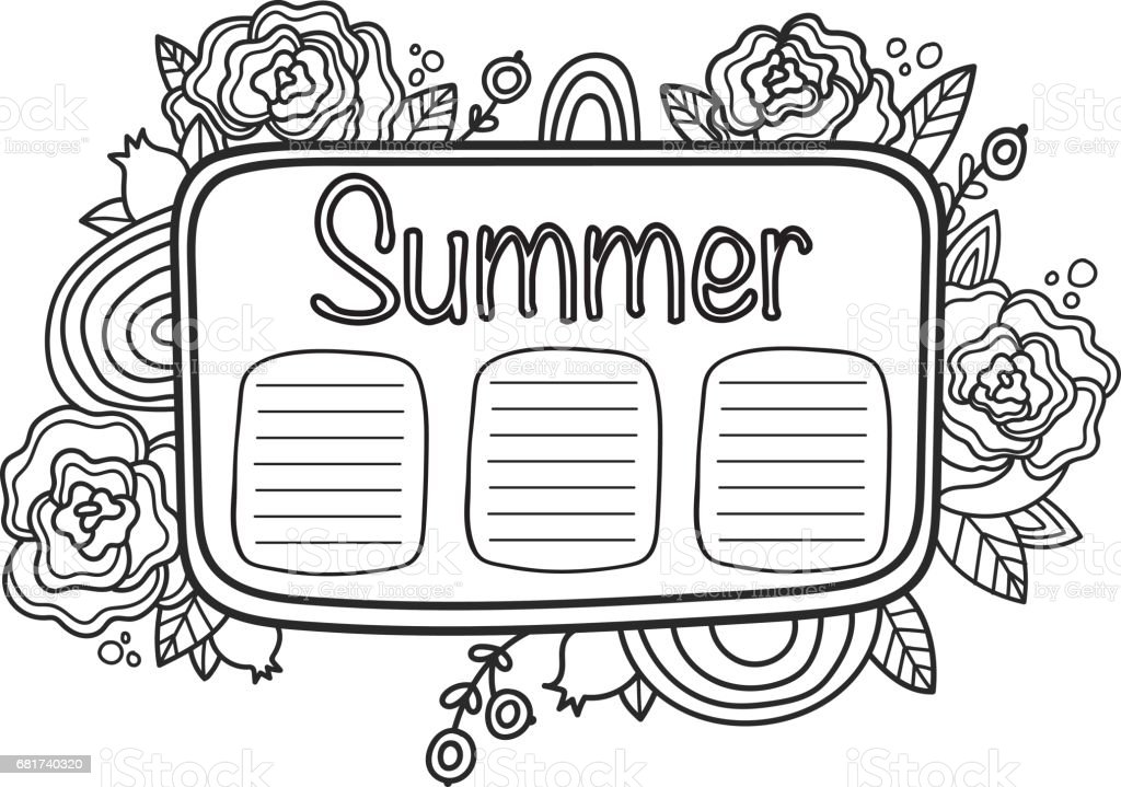 Printable Summer Schedule Page Fun Summer Doodle Frame
