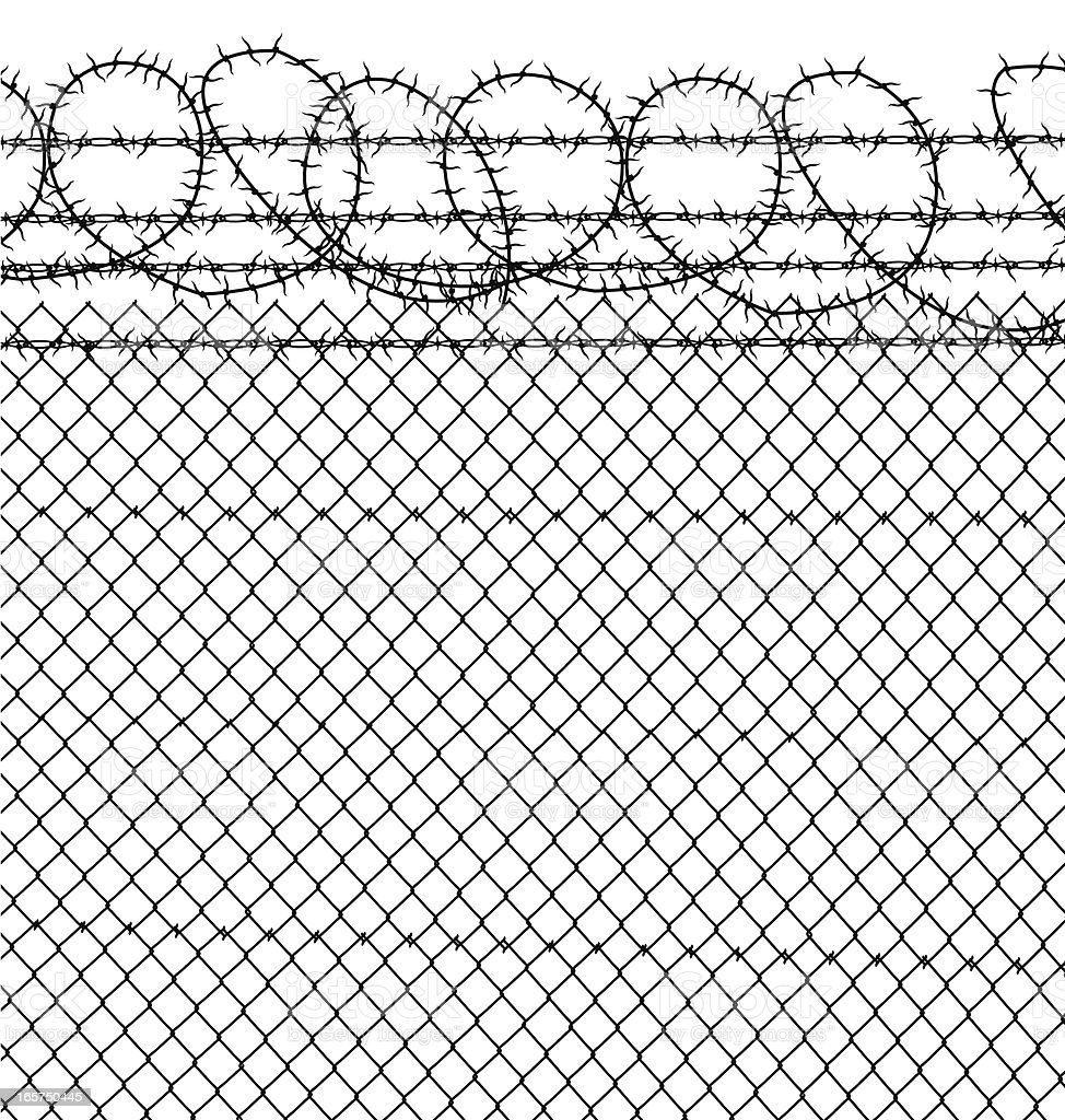 Prison Barbed Wire Chain Link Fence Stock Vector Art