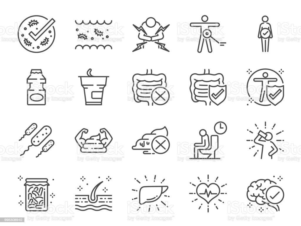 Probiotics Set Included Icons As Intestinal Flora