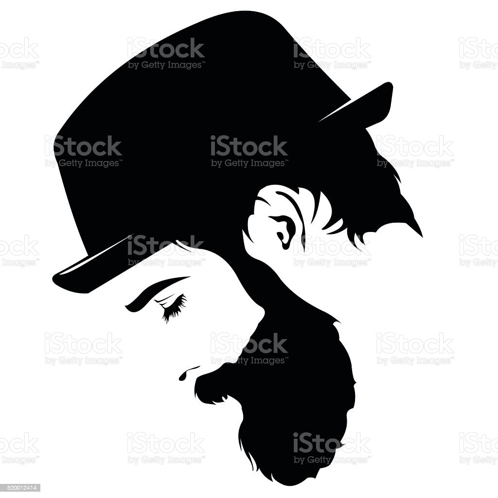 profile of sad bearded man wearing