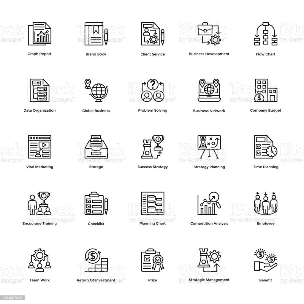 Project Management Line Vector Icons Set 21 Stock Vector