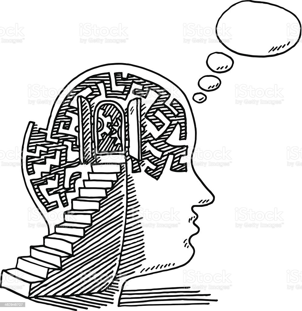 Psycholgy Head Steps Thinking Drawing Stock Illustration