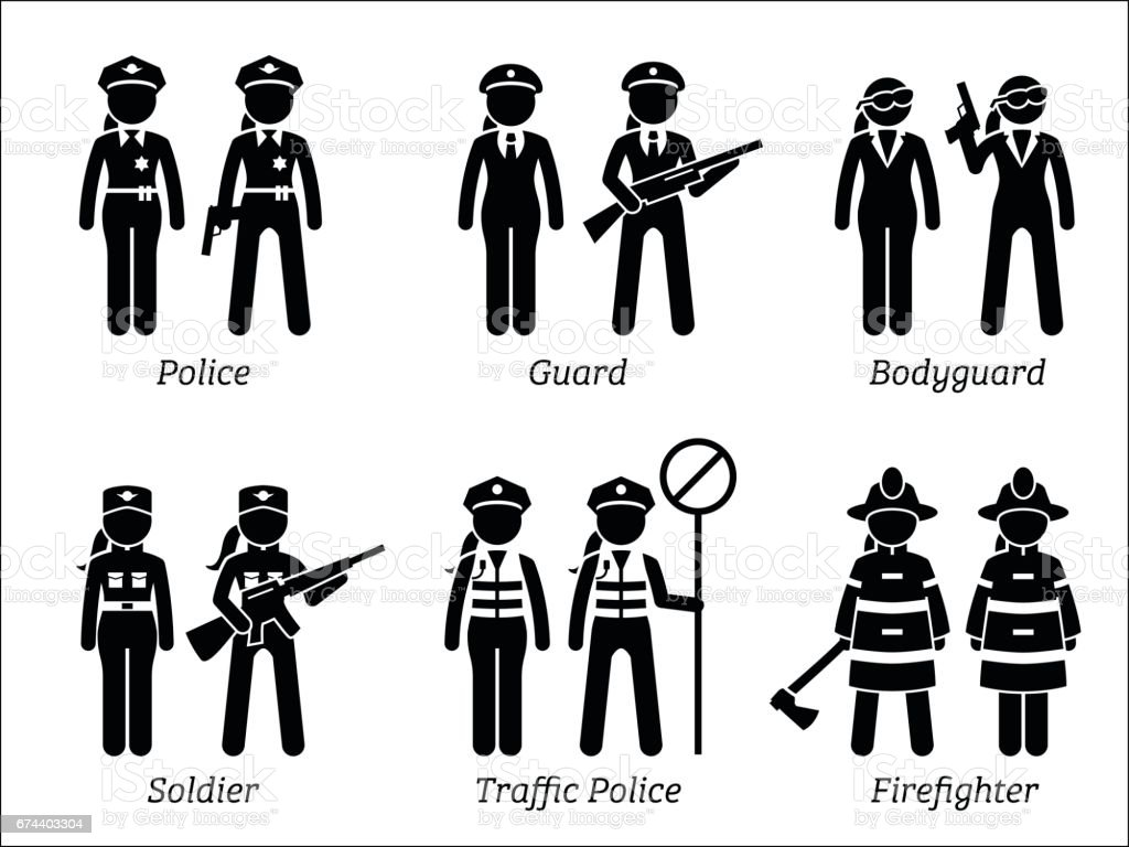 Public Safety Jobs And Occupations For Women stock vector