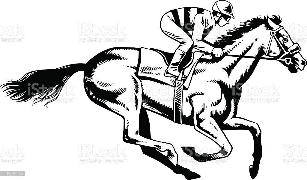 Course De Chevaux De Race à Noir Et Blanc Dessin