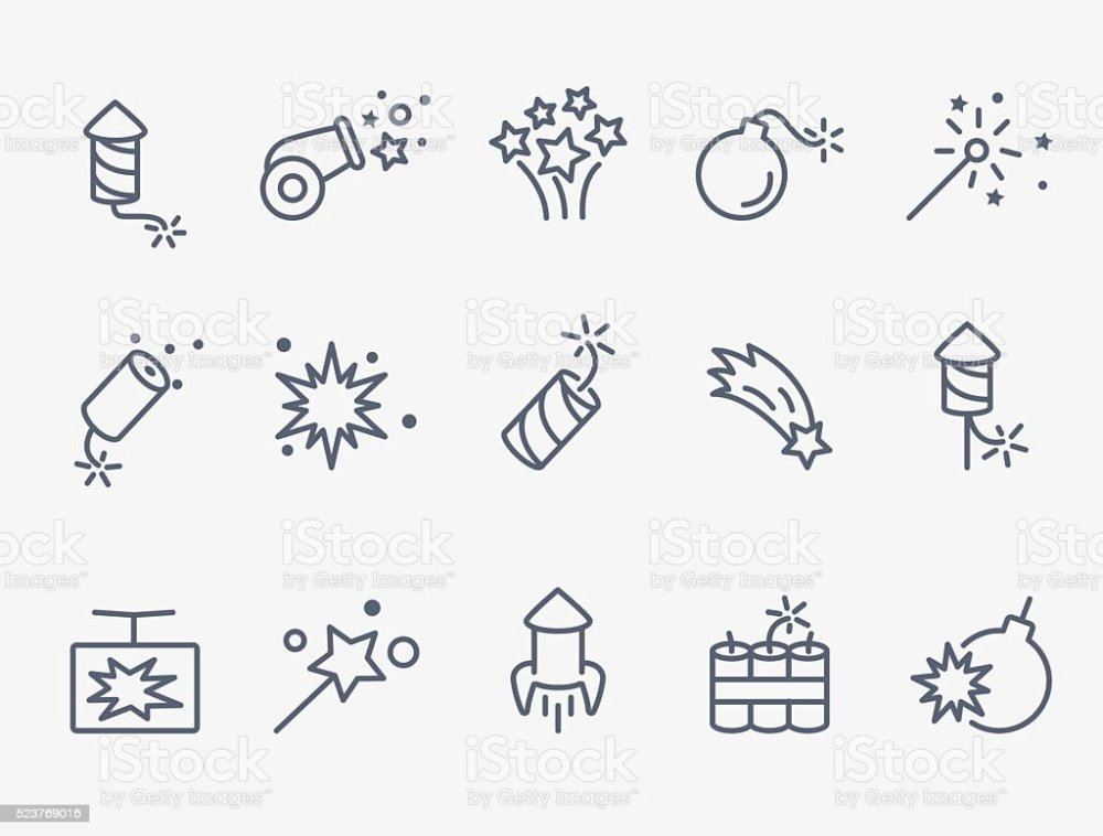 medium resolution of pyrotechnic and firework icons royalty free pyrotechnic and firework icons stock illustration download image
