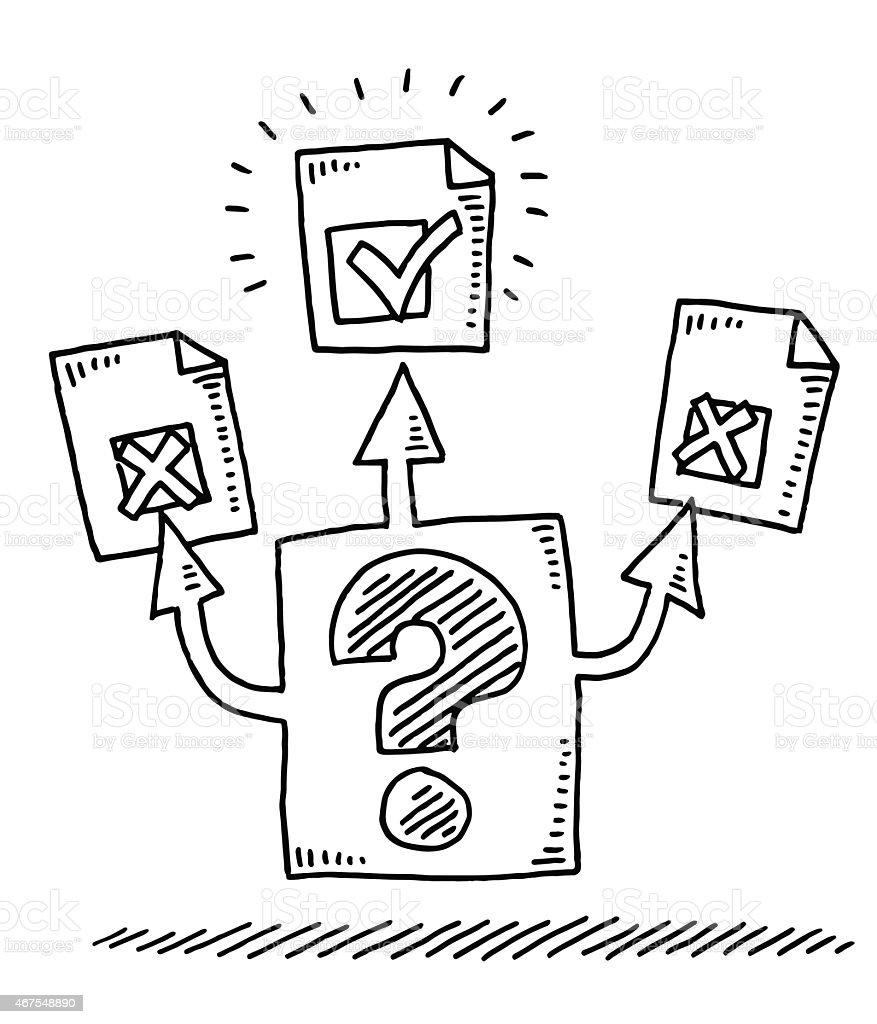 Ilustración de Tela De Juicio Las Decisiones Concepto
