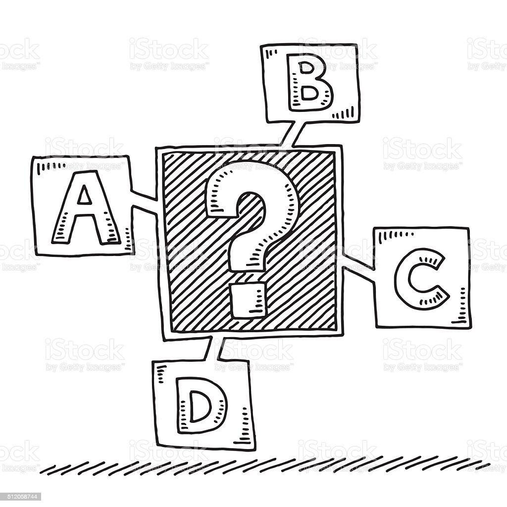 Question Mark Uncertainty Four Options Drawing Stock