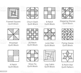 quilt pattern vector cabin blocks pinwheel quilting patchwork fabric clip squares icon line tiles sewing block triangles objects isolated ukraine