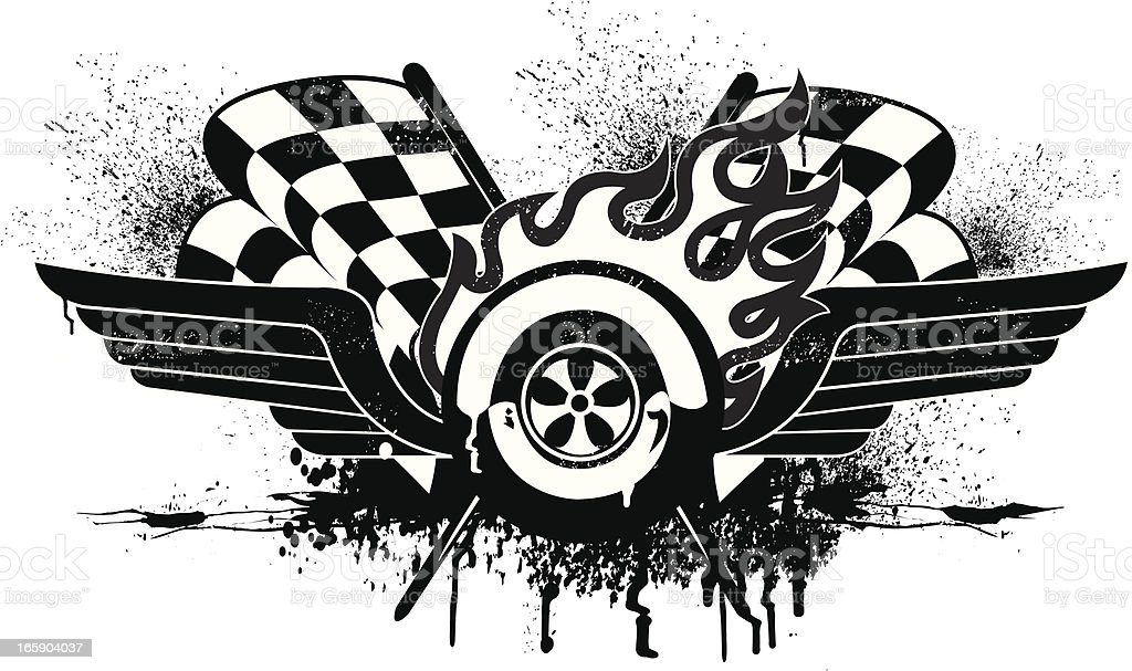 Race Car Grunge Graphic With Checkered Flags Stock Vector