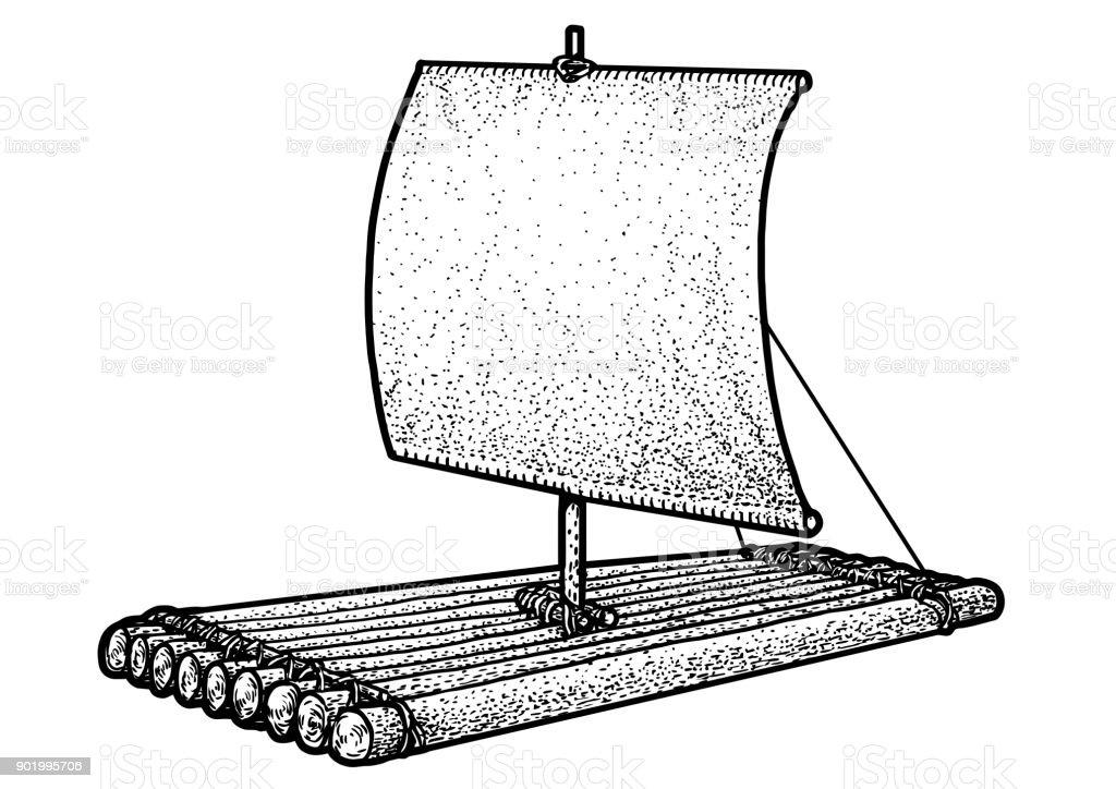 Raft Illustration Drawing Engraving Ink Line Art Vector