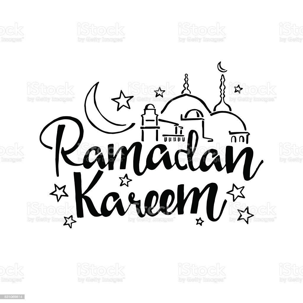Ramadan Kareem Hand Drawn Lettering Stock Illustration