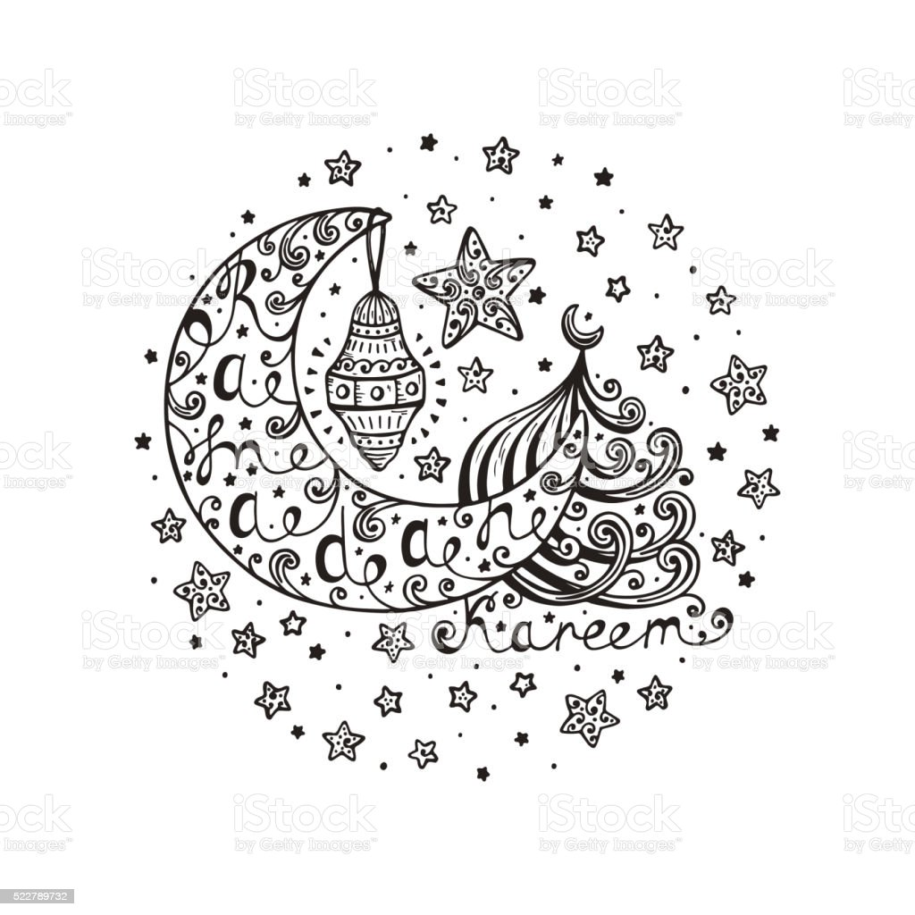 Ramadan Kareem Vector Background Hand Drawn Crescent