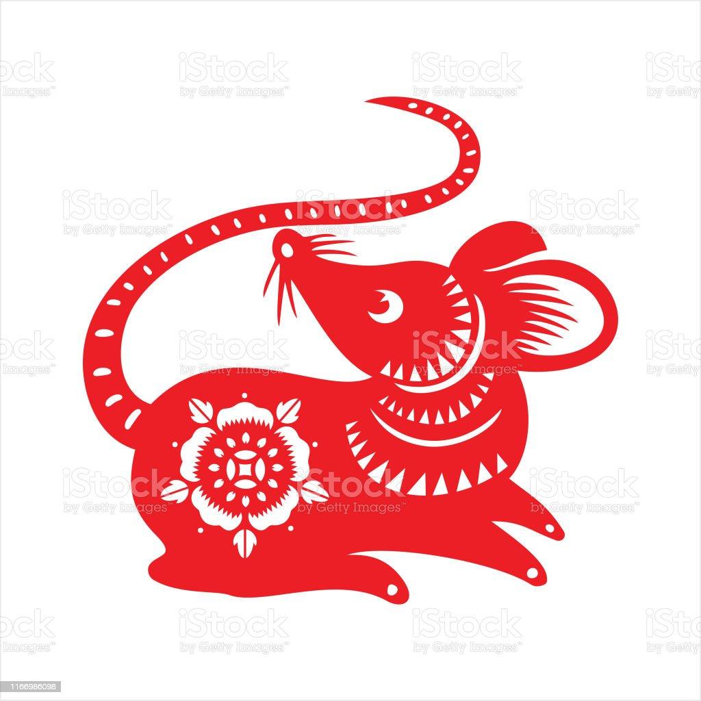 鼠剪紙鼠年2020年新年快樂中國新年向量圖形及更多中國圖片 - iStock