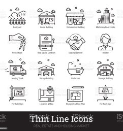 real eestate moving buying house thin line icons vector illustrations clipart collection isolated [ 1024 x 1024 Pixel ]