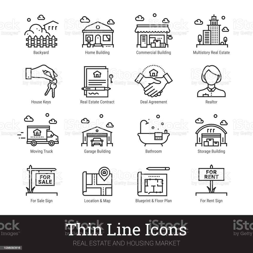 hight resolution of real eestate moving buying house thin line icons vector illustrations clipart collection isolated
