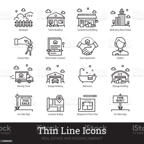small resolution of real eestate moving buying house thin line icons vector illustrations clipart collection isolated