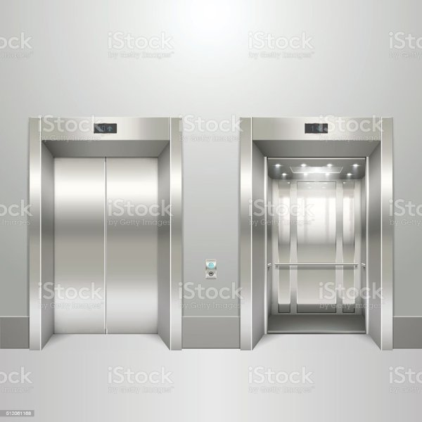 Realistic Elevator Open And Closed Doors Stock Vector Art