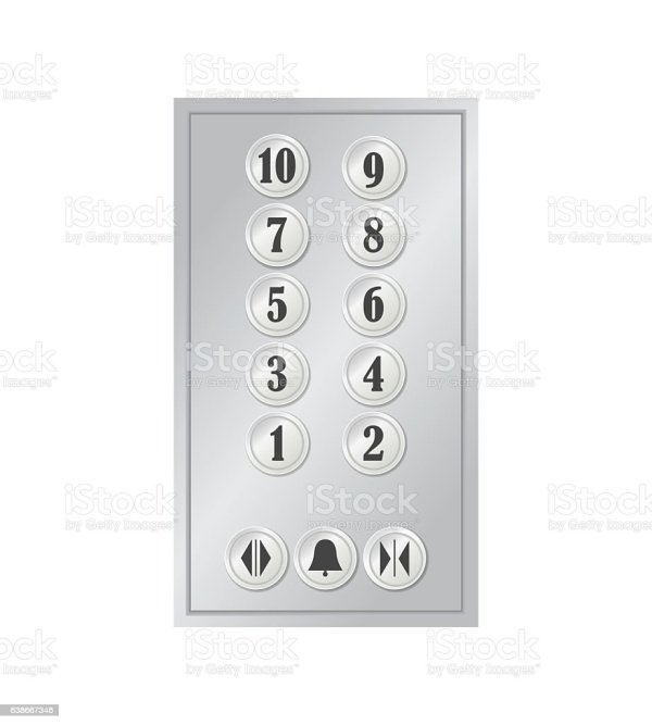 Realistic Elevator Lift Buttons Vector Stock Art