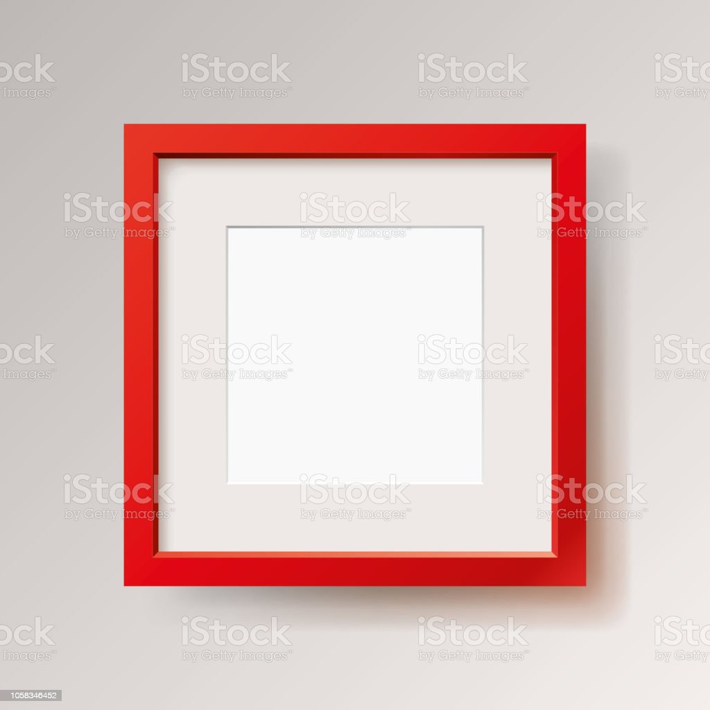 hight resolution of realistic empty red frame on gray background border for your creative project mock