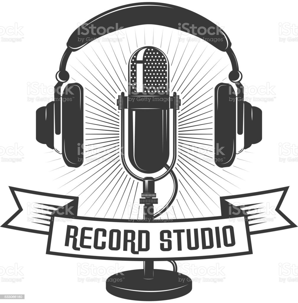 Record Studio Label Template. Microphone And Headphones Royalty-Free Record  Studio Label Template Microphone